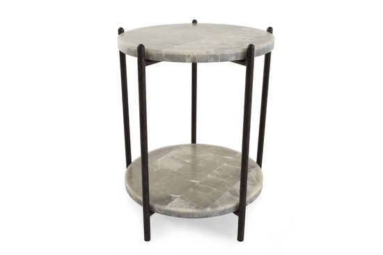 Open-Shelf Transitional Accent Table in White Onyx