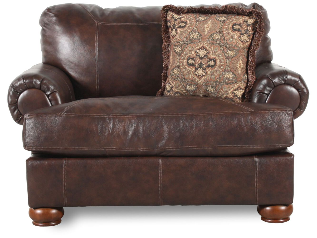 traditional leather 55 chair and a half in walnut mathis brothers furniture. Black Bedroom Furniture Sets. Home Design Ideas
