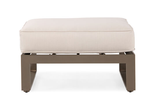 Square Leg Aluminum Ottoman in Light Brown