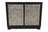 "32"" Contemporary Mirrored Glass-Inset Chest in Jet Black"