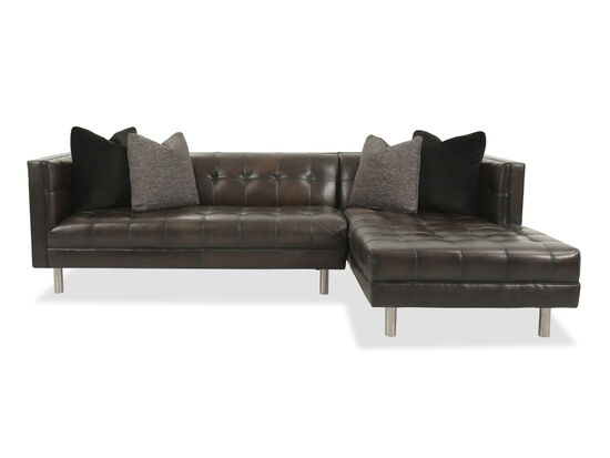 Two-Piece Tufted Leather Sectional in Brown