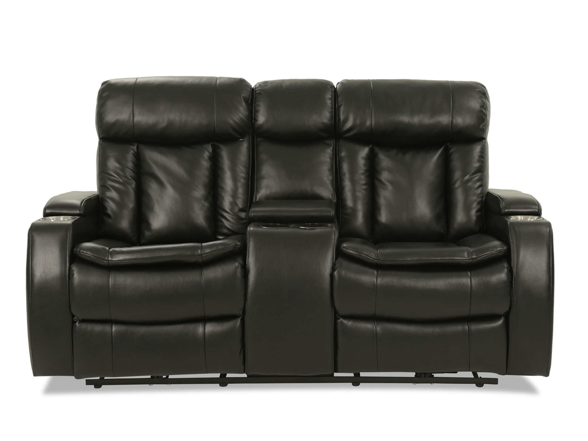 Images Power Reclining Leather 72u0026quot; Loveseat In Black Power Reclining  Leather 72u0026quot; Loveseat In Black