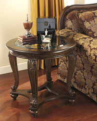 Traditional Round Glass-Inset End Table in Dark Brown
