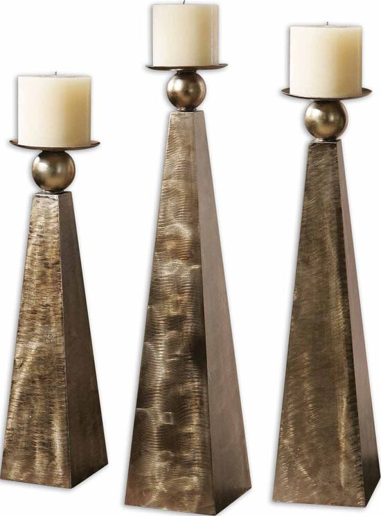 Three-Piece Brushed Candle Holder Set in Rustic Bronze