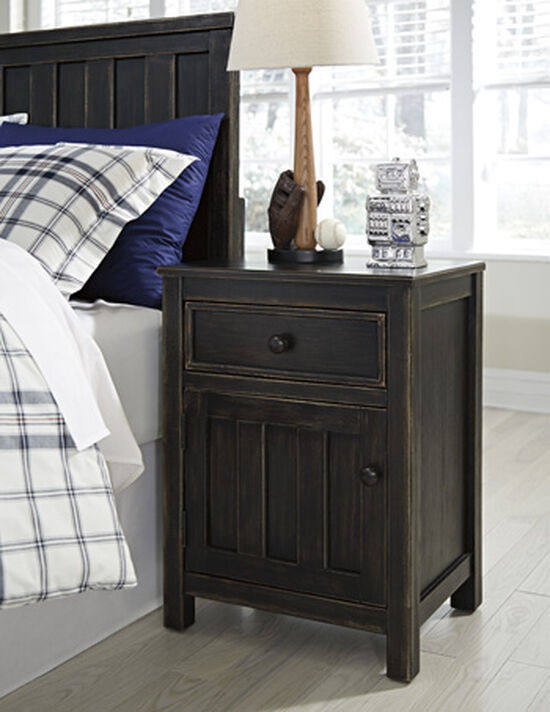 Casual Plank Overlay Youth Nightstand in Black