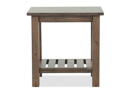 Transitional Slatted Shelf End Table in Caramel