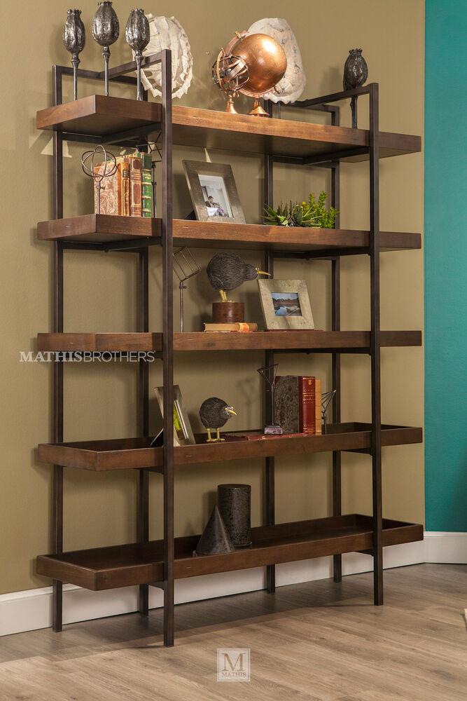 Five Shelf Contemporary Open Bookcase In Medium Brown