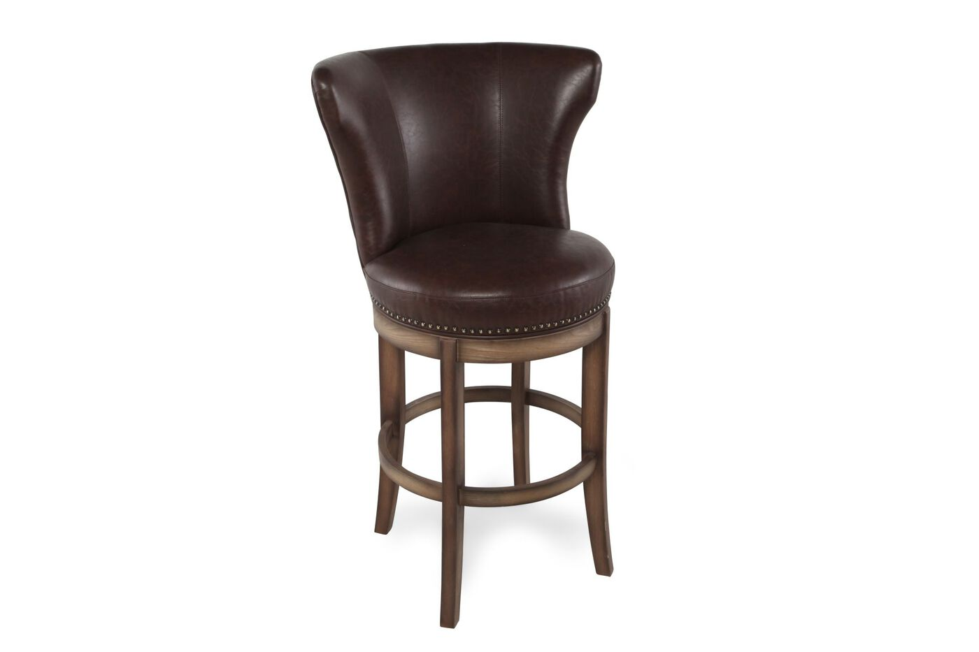 Nailhead Accented 44 Quot Swivel Bar Stool In Chestnut