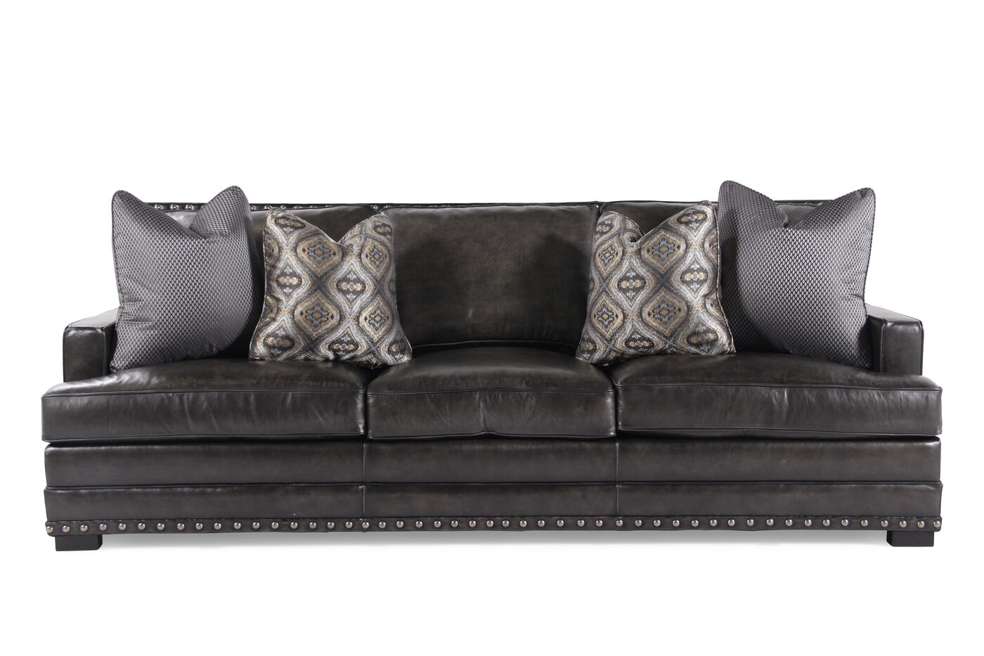 Bernhardt Living Room Furniture. Nailhead Accented Leather 94 quot  Sofa in Graphite Mathis Brothers