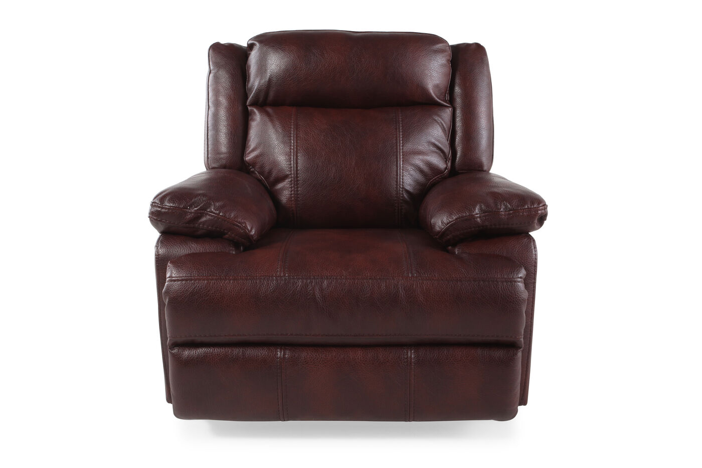 Contemporary 43 swivel recliner in dark burgundy mathis brothers furniture for Living room with two recliners