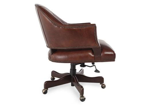 Padded Leather Swivel Tilt Office Chairin Dark Brown