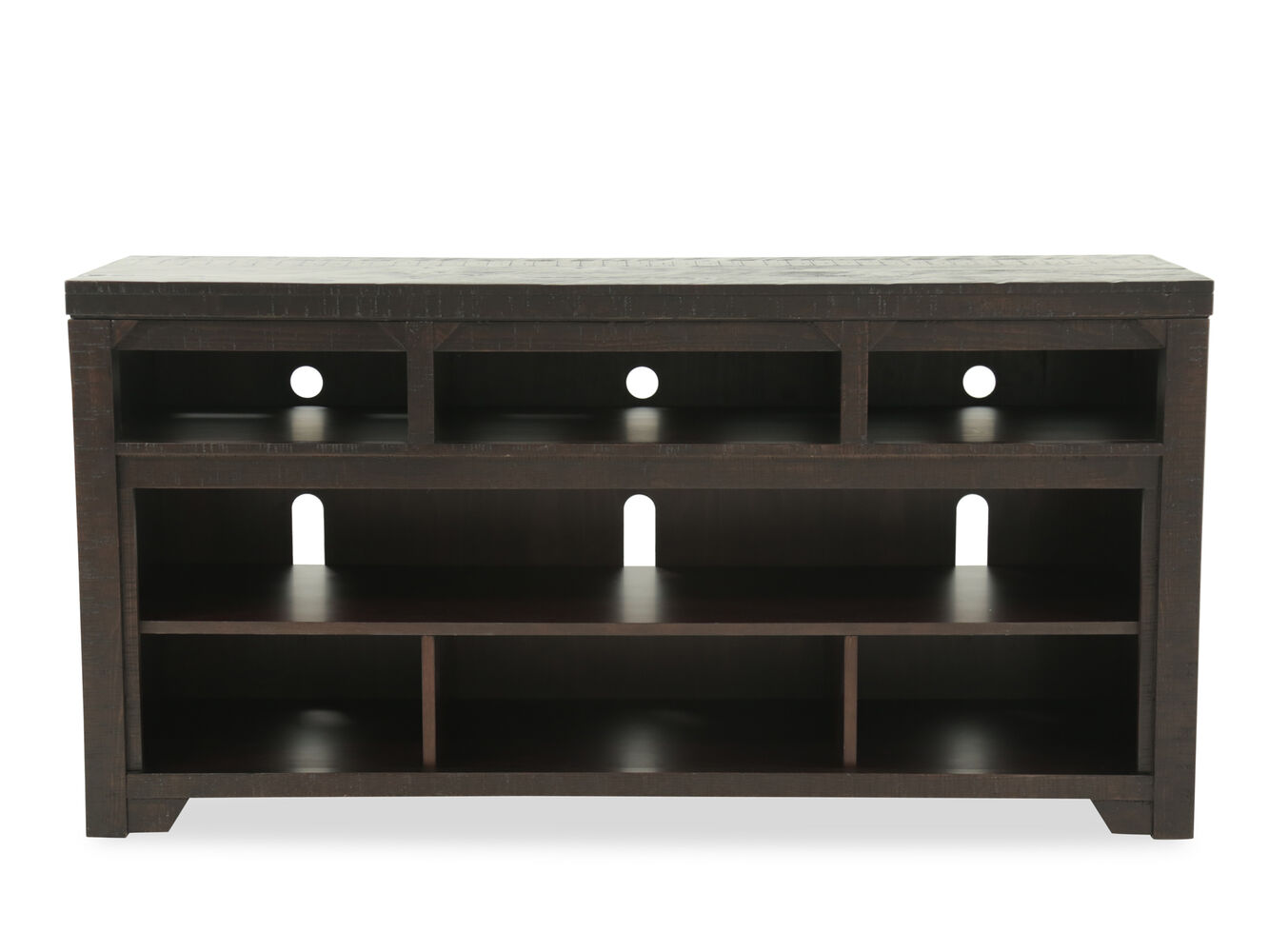 Open Shelves Casual Tv Stand In Dark Rum Mathis Brothers