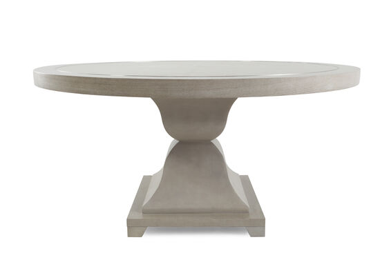 "Metropolitan 60"" Round Dining Table with Leather Patterns in Heathered Gray"