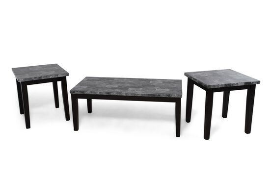 Three-Piece Contemporary Coffee Table Set in Black