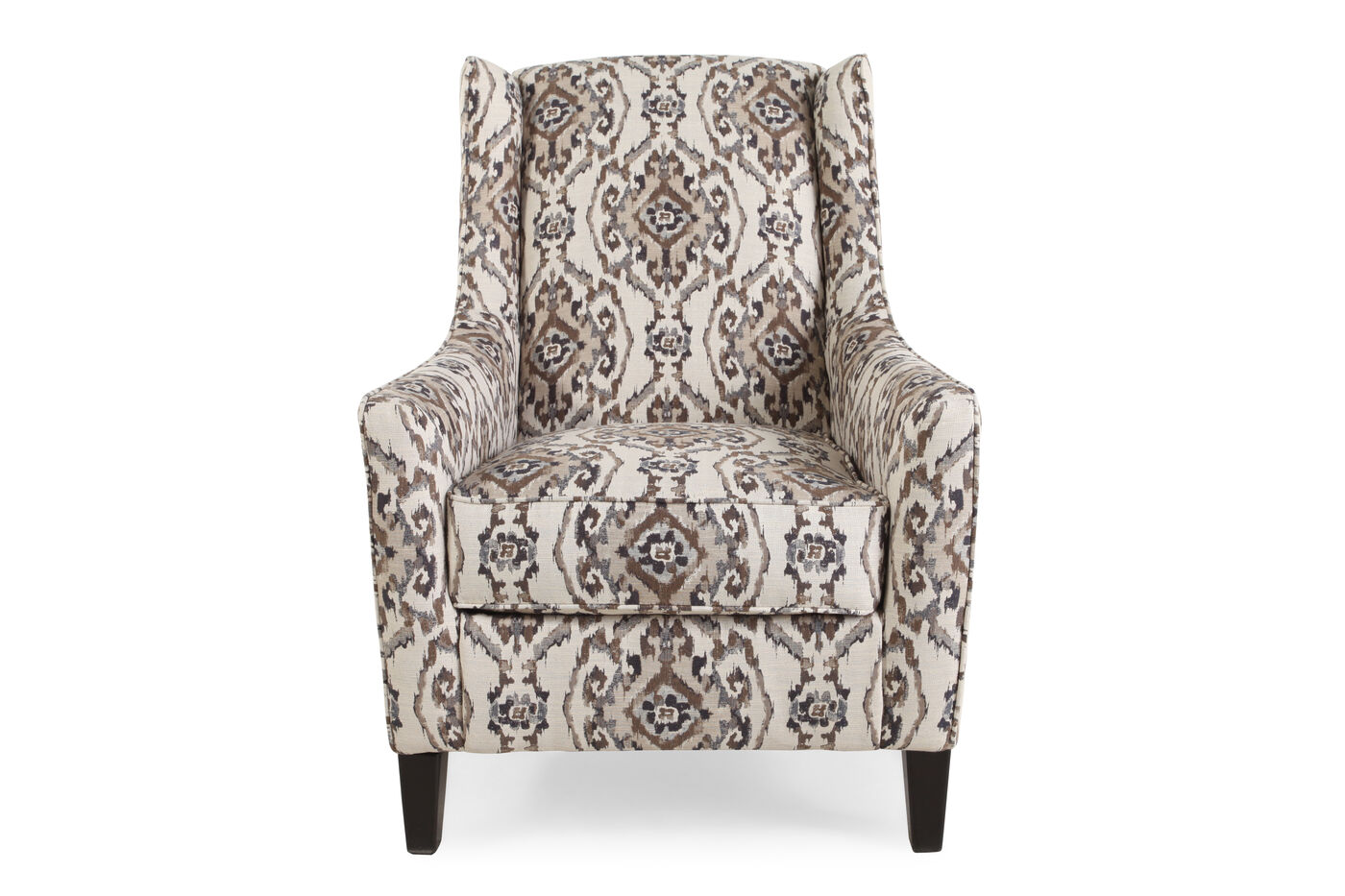 Patterned traditional 29 accent chair in cream mathis for Patterned living room chair