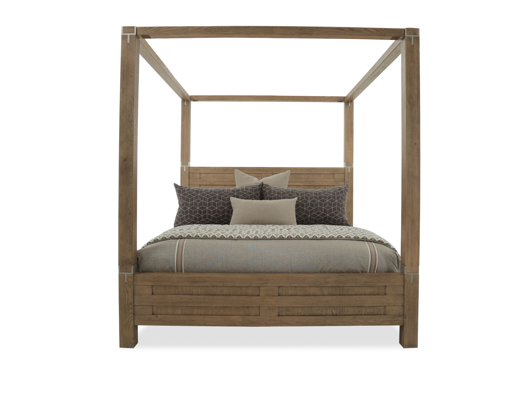 88u0026quot; Modern Interchangeable Panel to Canopy Bed in Rustic Oak 88u0026quot; Modern Interchangeable Panel to Canopy Bed in Rustic Oak  sc 1 st  Mathis Brothers & 88