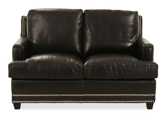 "60"" Nailhead-Trimmed Contemporary Loveseat in Black"