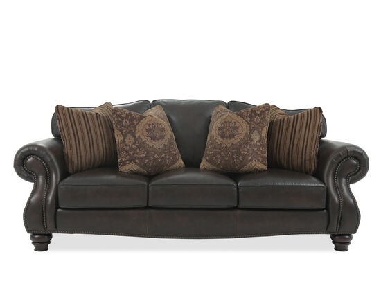 """Nailhead-Accented 96"""" Leather Sofa in Brown"""