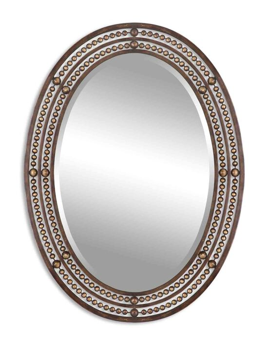 """34"""" Beaded Accent Mirror in Distressed Bronze"""