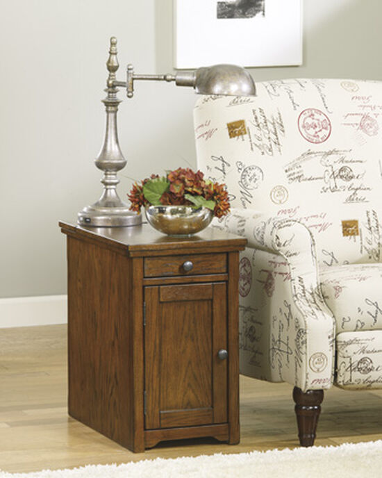 Rectangular One-Drawer End Table in Burnished Oak