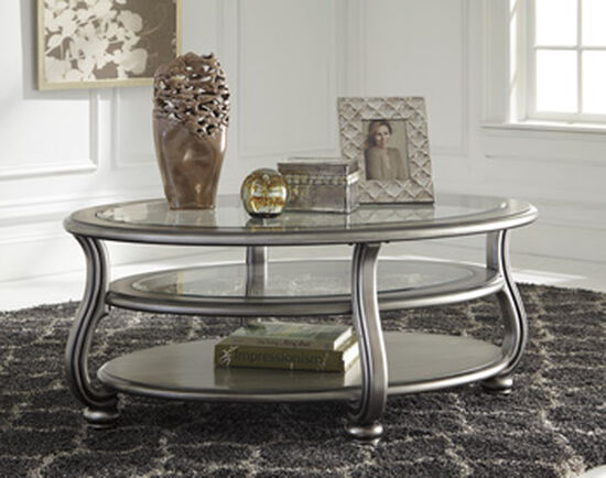Two-Tiered Traditional Oval Cocktail Table in Silver