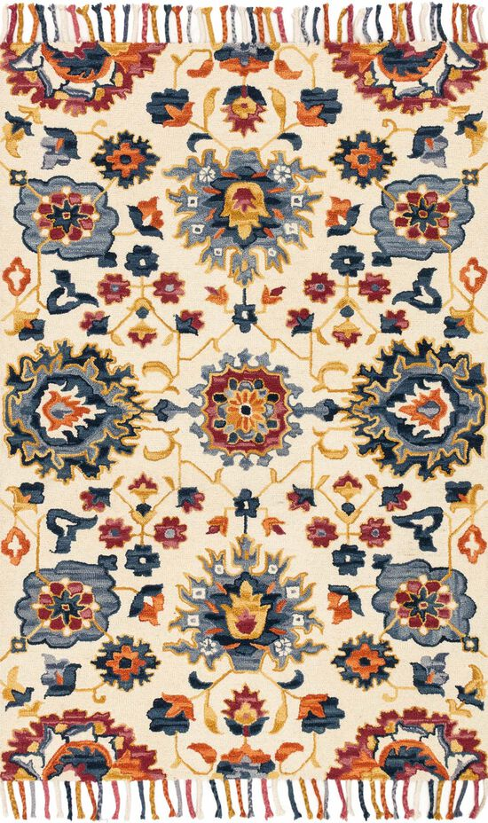"""Contemporary 1'-6""""x1'-6"""" Square Rug in Ivory/Multi"""