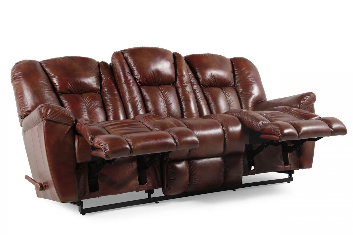 LaZBoy Maverick Mahogany Reclining Sofa Mathis Brothers Furniture - Mahogany leather sofa