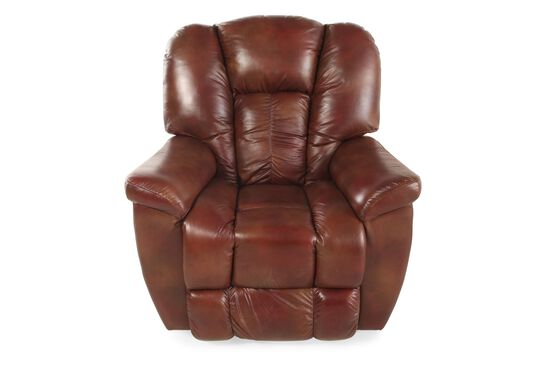 "Traditional Leather 38"" XR+ Power Recliner in Mahogany"