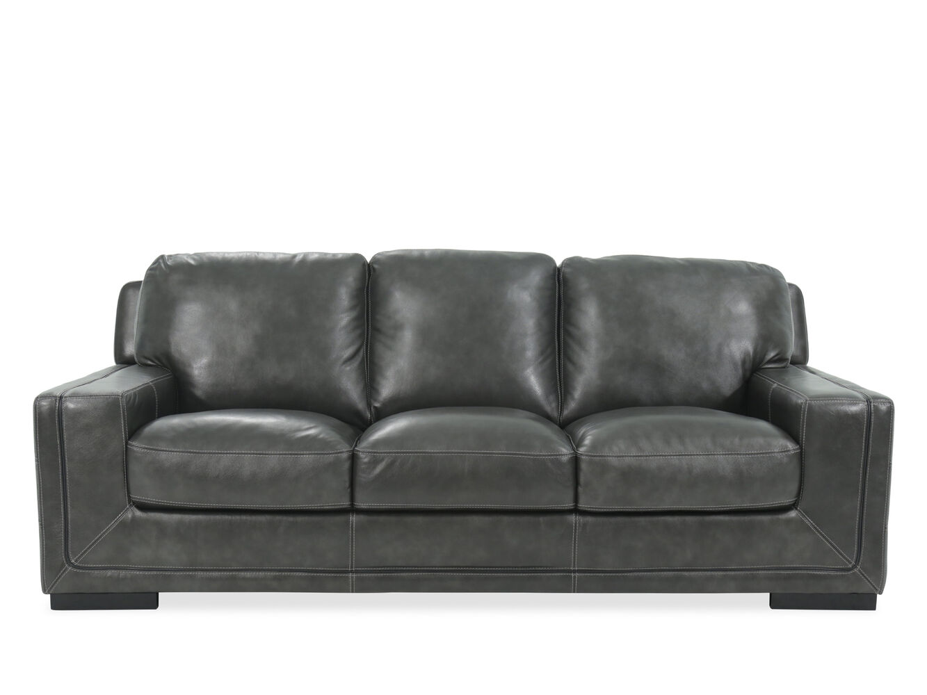 Traditional 93 leather sofa in pewter gray mathis for Traditional leather sofas furniture