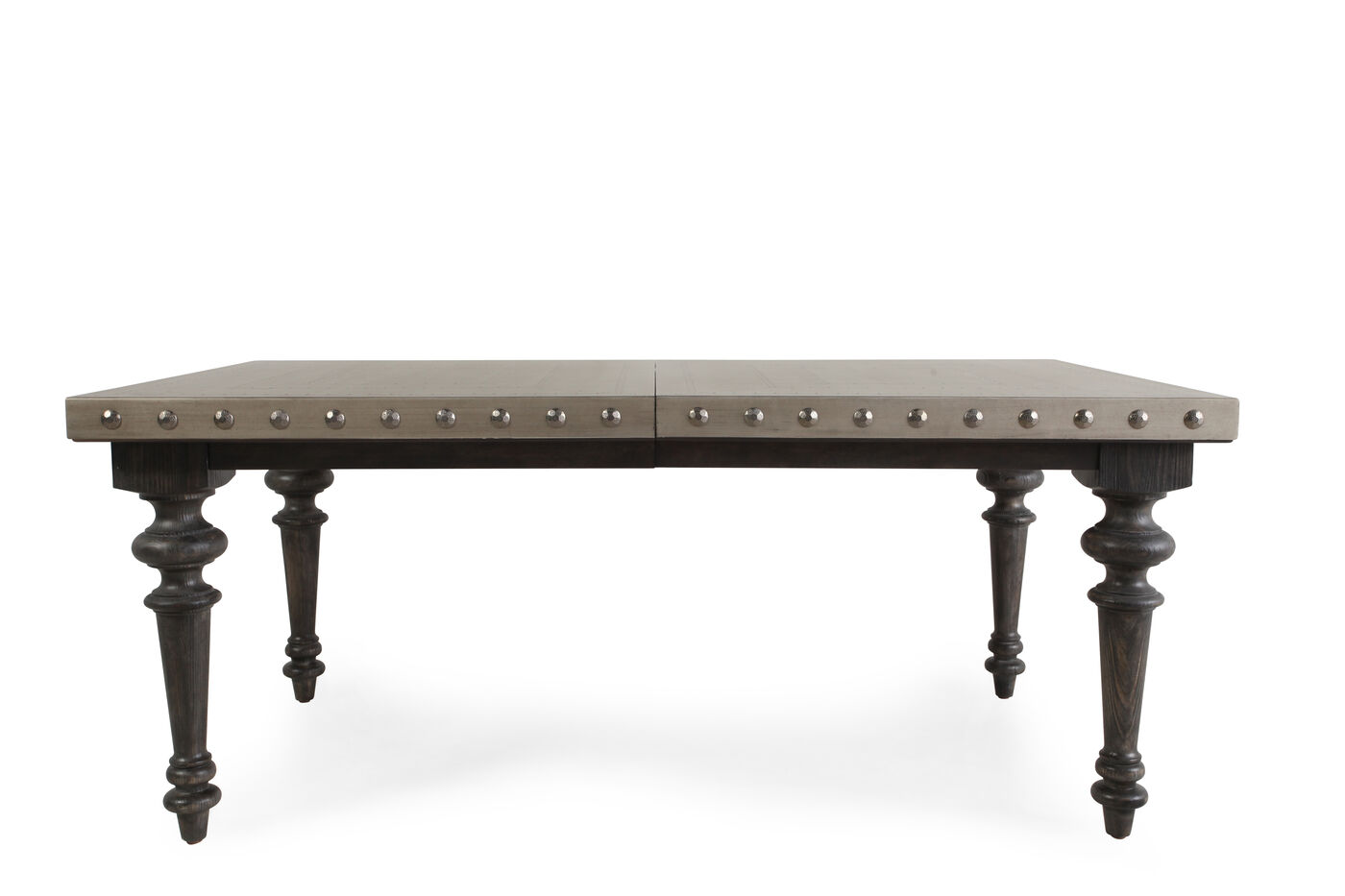 Traditional 72 to 108 nailhead accented dining table in for 108 inch dining room table