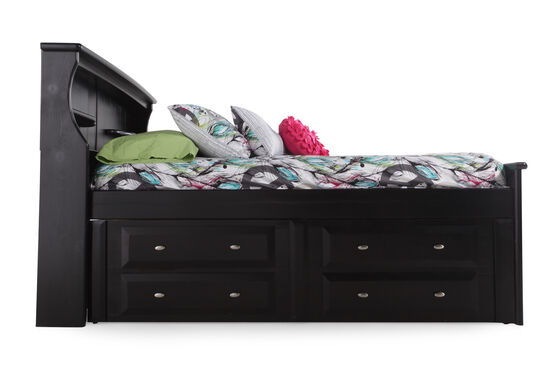 Solid Pine Youth Planked Storage Bed in Black Cherry