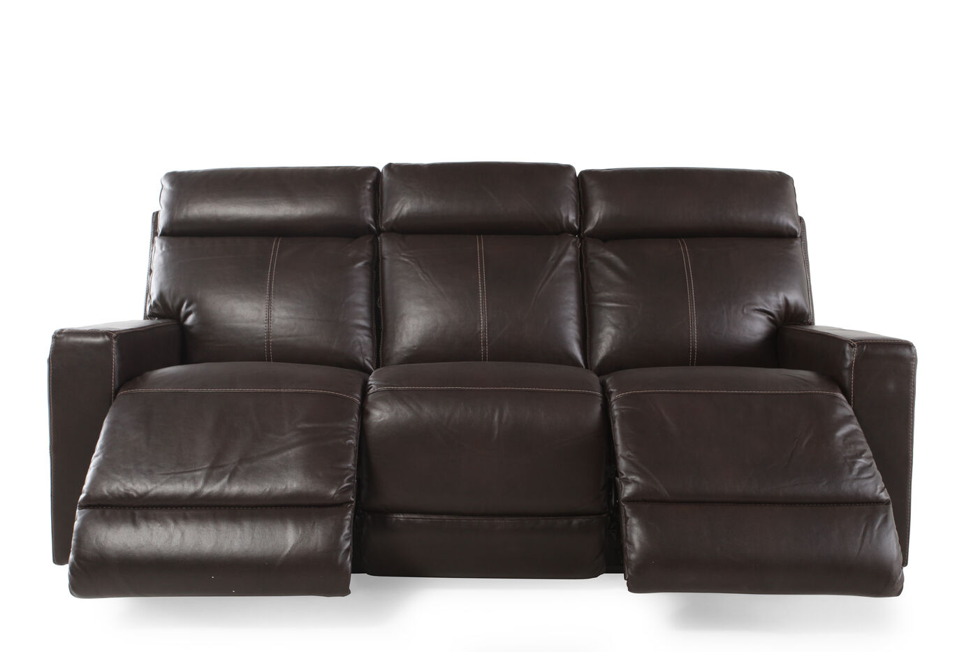 Contemporary power reclining 82quot sofa in brown mathis for Contemporary reclining sofas