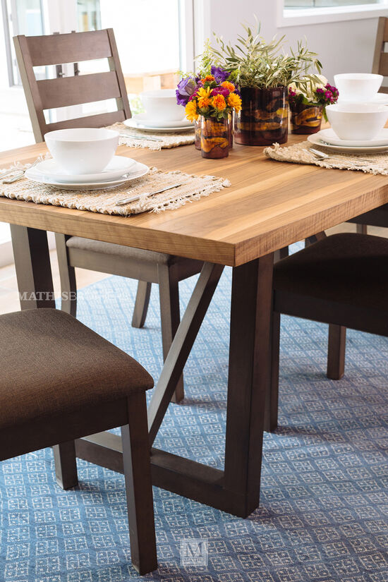 "Contemporary 72"" Square Pedestal Dining Table in Dark Brown"
