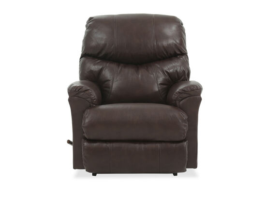 Pillow Top Arm Leather Rocker Recliner in Brown
