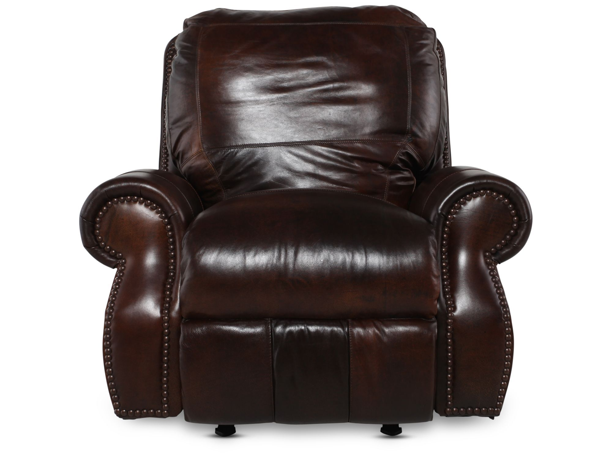 Nailhead Accented 44u0026quot; Leather Rocker Recliner In Brown