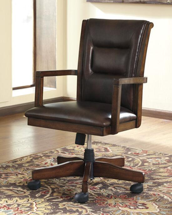 Bustle-Back Swivel Tilt Desk Chairin Medium Brown