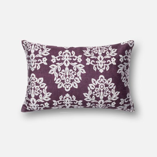 """Contemporary 13""""x21"""" Cover w/Down Pillow in Plum/Silver"""