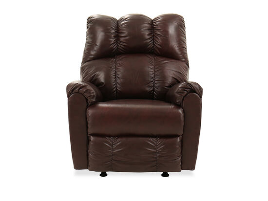 "Leather Contemporary 35"" Rocker Recliner in Brown"