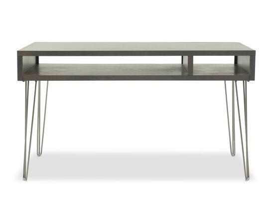 """55"""" Mid-Century Modern Two-Shelf Laptop Desk in Brown"""
