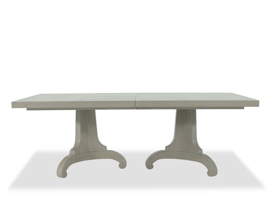 "44"" to 66"" Rectangular Pedestal Table with Steel Inlay in Light Gray"