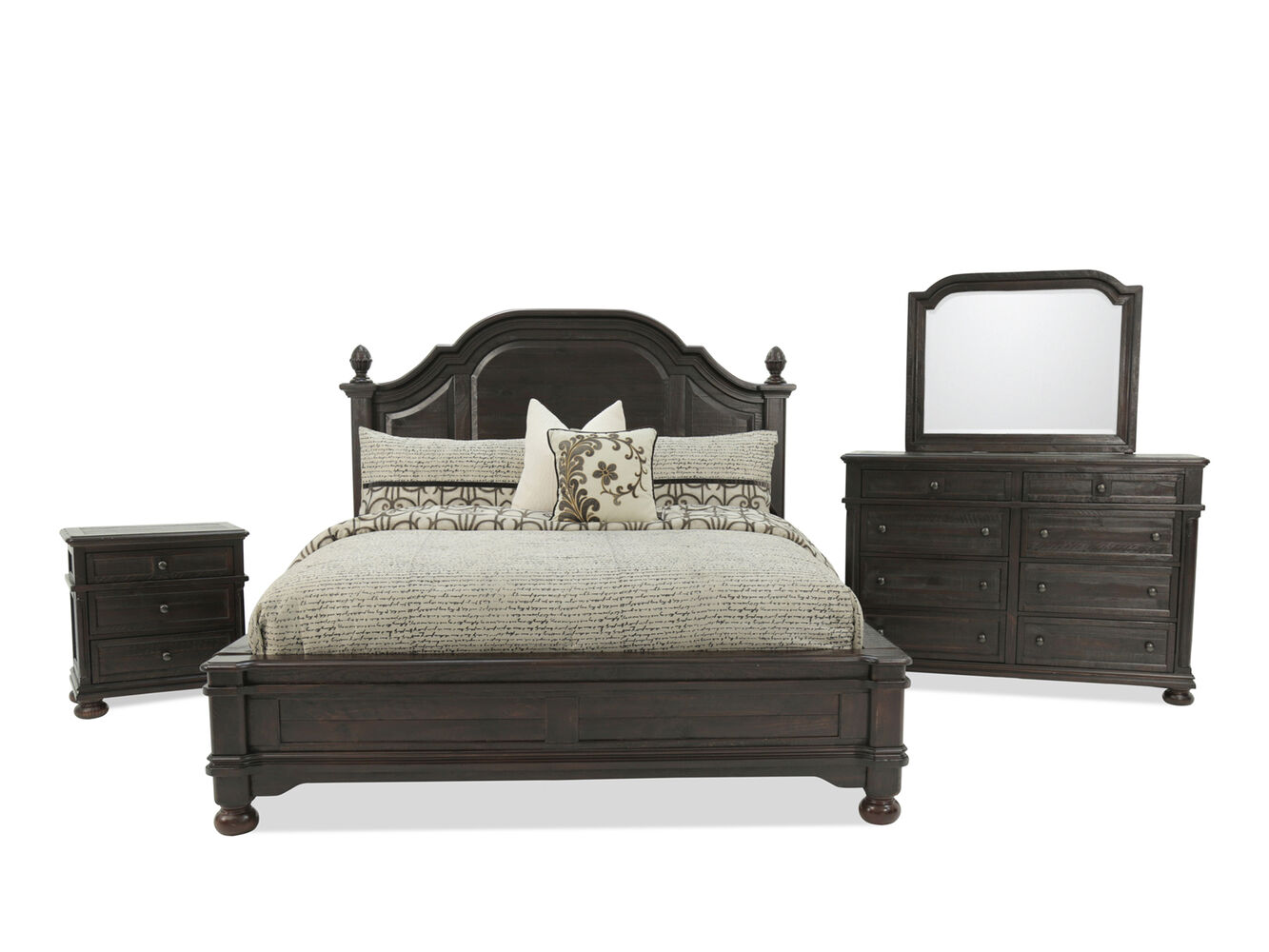 Four Piece Traditional Bedroom Set In Brown Mathis