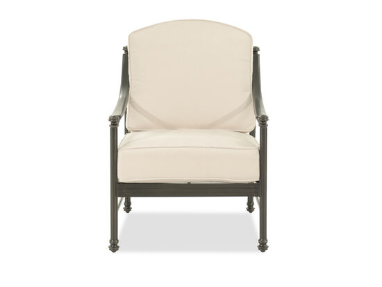 Curved Arm Aluminum Club Chair in Cream