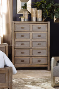 Casual Paneled Five-Drawer Chest in Brown