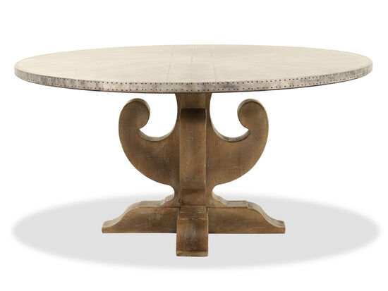 "Traditional 60"" Round Dining Table in Light Brown"