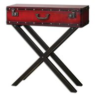 Trunk Top Console Table in Antiqued Red
