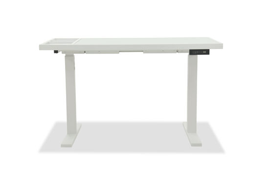"""52"""" Power Lift-Top Contemporary Desk in White"""