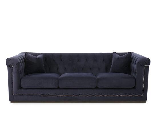 """Button-Tufted Velvet 93"""" Sofa in Blue"""