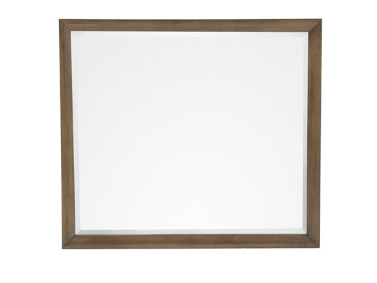 Contemporary Youth Landscape Mirror in Medium Brown