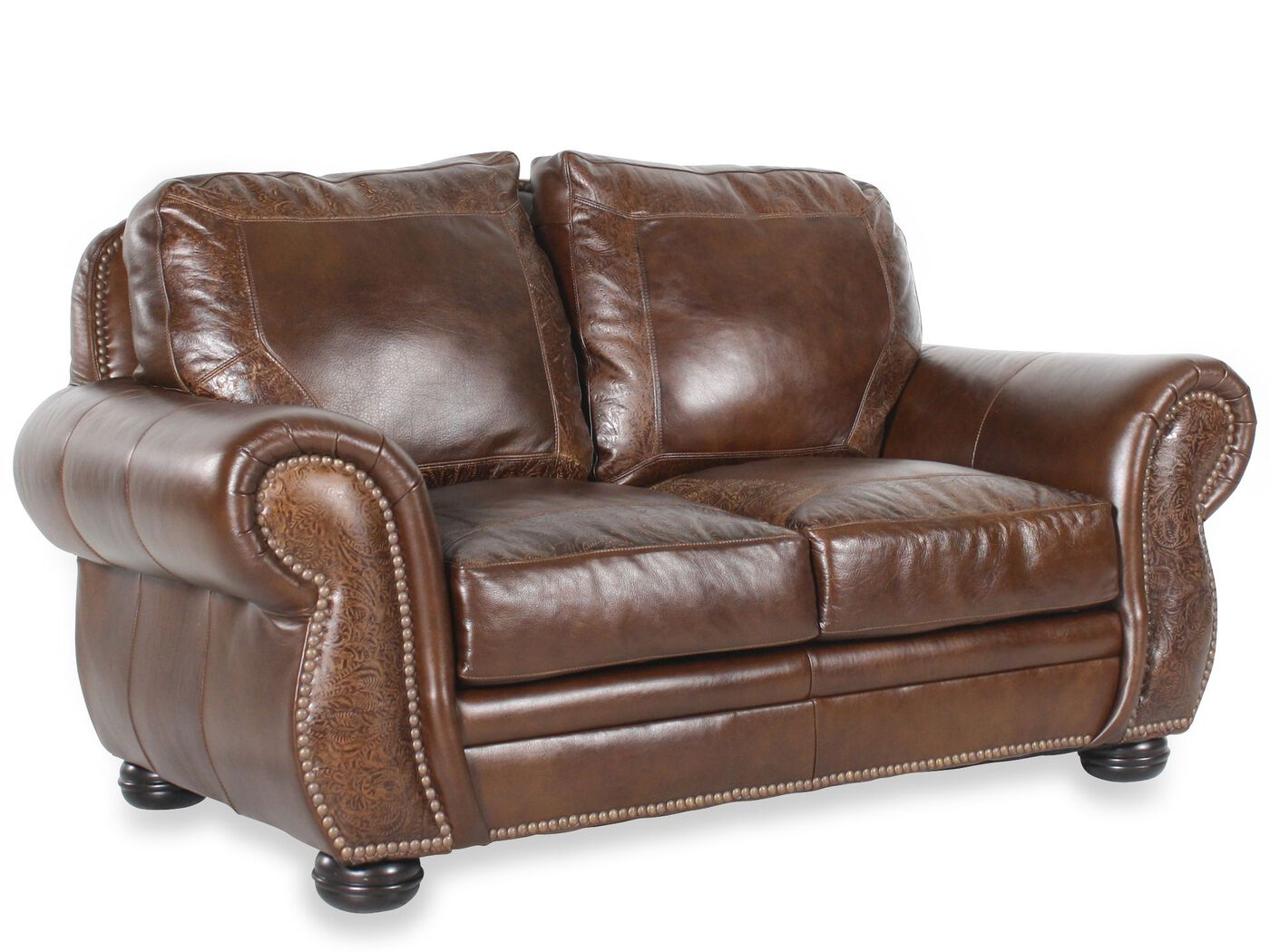 Paisley Leather 72 Quot Loveseat In Dark Oak Mathis Brothers