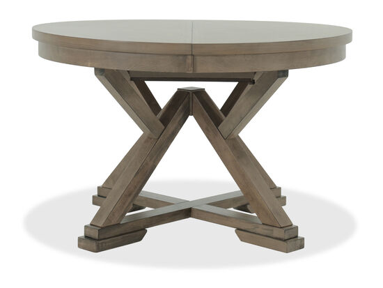 "Casual 66"" Expandable Round Pedestal Table in Medium Brown"